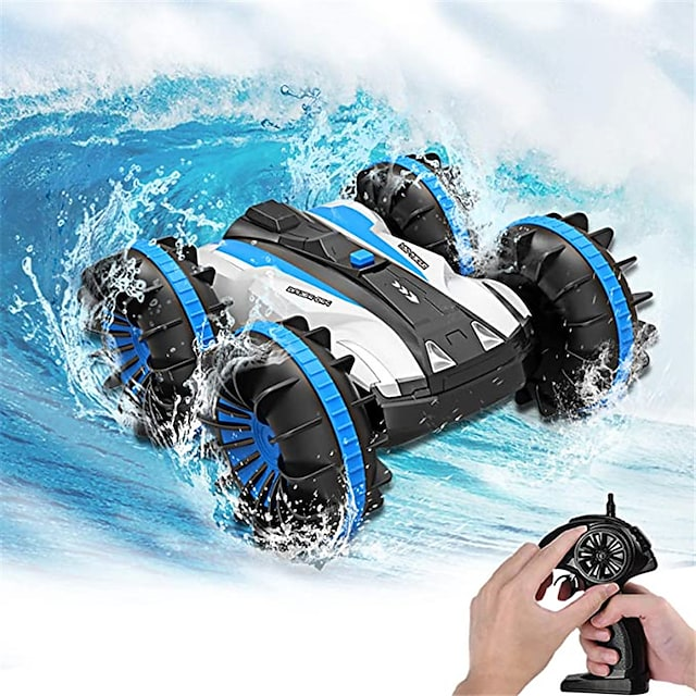 Amphibious RC Car for Kids 2.4 GHz Remote Control Boat Waterproof RC Monster Truck Stunt Car 4WD Vehicle Girls Gifts All Terrain Water Beach Pool Toy
