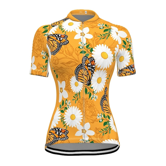 21Grams Women's Short Sleeve Cycling Jersey Summer Spandex Polyester Yellow Butterfly Floral Botanical Bike Jersey Top Mountain Bike MTB Road Bike Cycling Quick Dry Moisture Wicking Breathable Sports