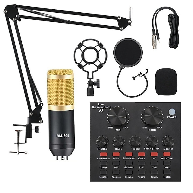 BM800 Studio Microphone Kits With Filter V8 Sound Card Condenser Microphone Bundle Record Ktv Karaoke Smartphone Microphone