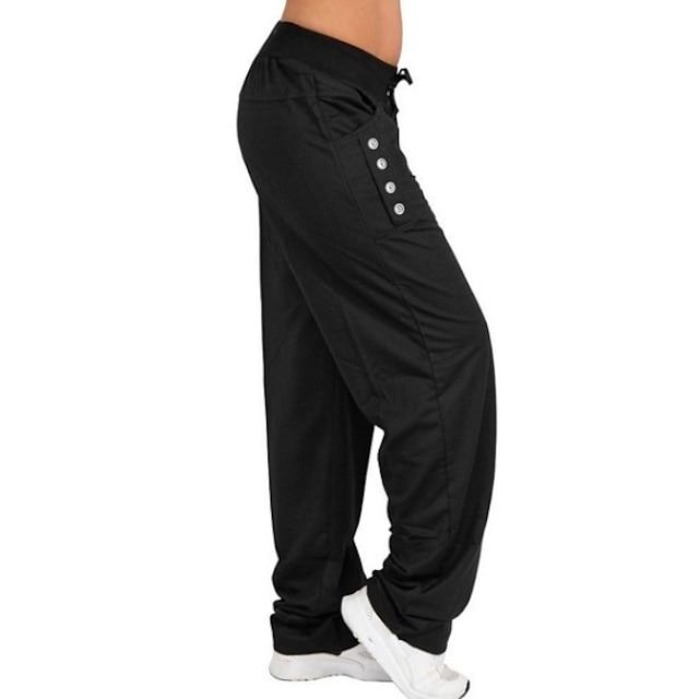 Women's Casual / Sporty Boho Comfort Casual Leisure Sports Chinos Pants Plain Full Length Drawstring Pocket Black Light gray Dark Gray Navy Blue