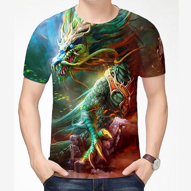 Homme T-shirt Chemise 3D effet Dragon Graphique 3D Grandes Tailles 3D Imprimé Manches Courtes Quotidien Hauts Style Chinois Simple Col Rond Gris / Marine Grise Vert / Eté