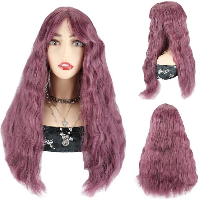 perucă sintetică perucă de culoare roz perucă perucă cosplay perucă perucă peruci cu valuri adânci cu breton pentru femei negre