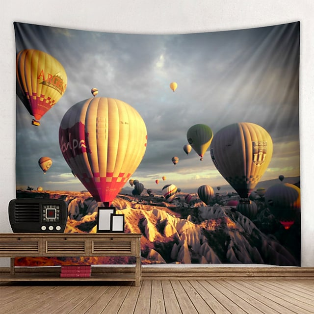 3D Tapestry Wall Hanging Art Deco Blanket Curtain Hanging Home Bedroom Living Room  Spectacular Hot Air Balloon