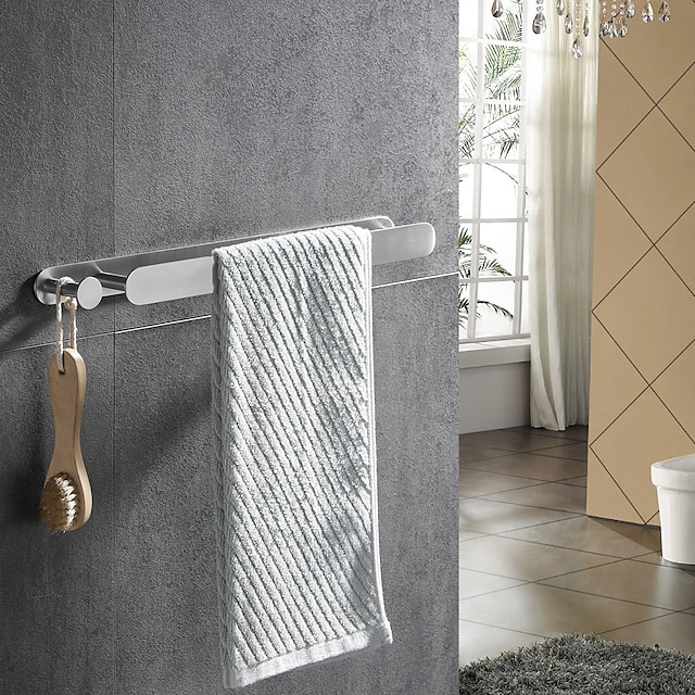 Brushed Multifunctional Towel Bar with Hook 304 Stainless Steel Electroplated, 40cm, Brushed, Bathroom and Kitchen Shelf Punch-free
