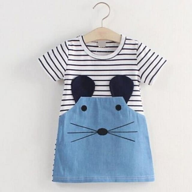 Kids Little Girls' Dress Striped Graphic Animal Fur Trim Print Blue Knee-length Short Sleeve Basic Dresses Summer Regular Fit 2-6 Years