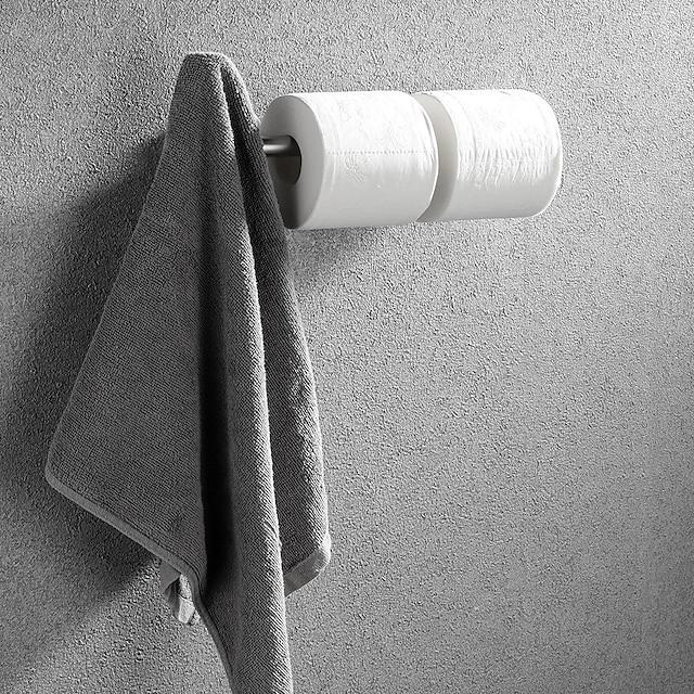 πολυλειτουργική μπάρα για πετσέτες βουρτσισμένη / βαμμένη θήκη χαρτιού τουαλέτας με γάντζο παλτό 304 από ανοξείδωτο ατσάλι ματ μαύρο / ασημί επιτοίχια