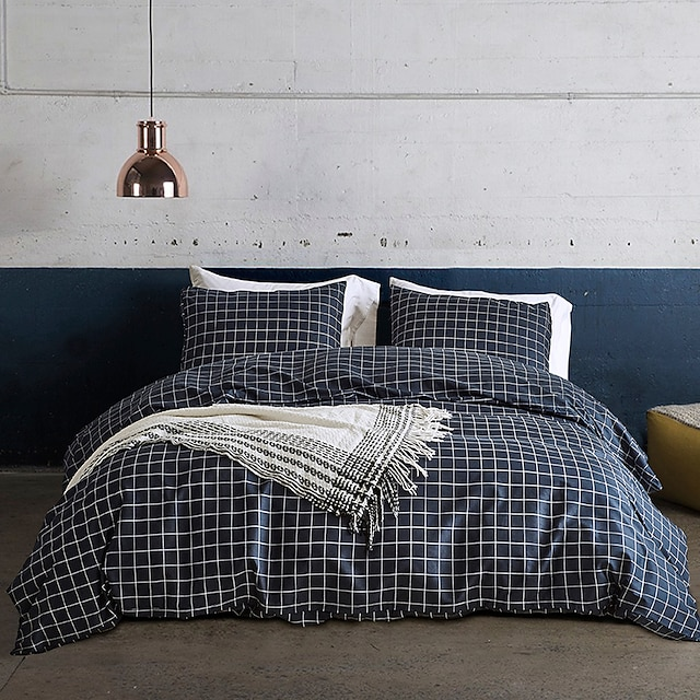 Duvet cover set with zipper with plaid geometric pattern, ultra soft comfortable and breathable durable
