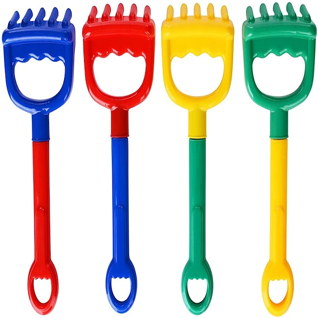 Beach Rakes for Kids (Blue,Red,Yellow&Green) Complete Gift Set Party Bundle- 4Pack (8.66×3.8in)