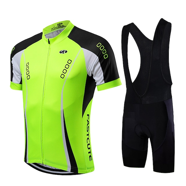 21Grams Men's Short Sleeve Cycling Jersey with Bib Shorts Summer Coolmax® Lycra Yellow Red Light Green Bike Clothing Suit Quick Dry Breathable Back Pocket Sports Patterned Mountain Bike MTB Road Bike
