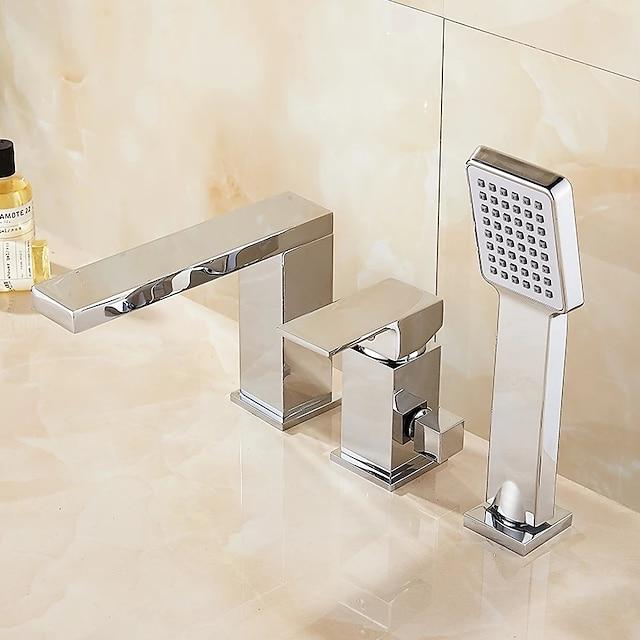 Roman bath faucet - grifos mezcladores de ducha de baño con válvula de cerámica de pie moderno cromado con ducha de mano