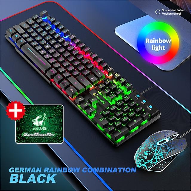 2021 Hiperdeal Nová vysoce kvalitní duhová podsvícení T13 USB Ergonomická herní klávesnice a myš Sada Clavier pro notebook pro PC