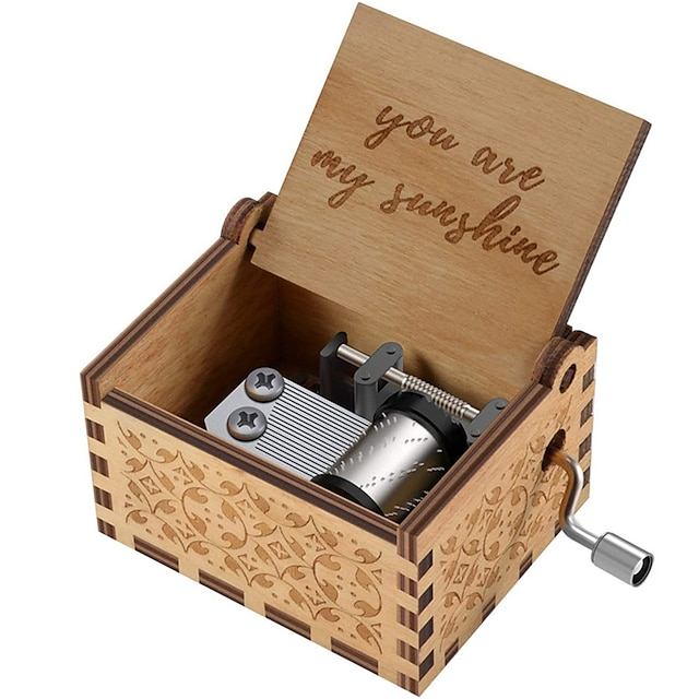 Wood Music Boxes,Laser Engraved Vintage Wooden Sunshine Musical Box Gifts for Birthday/Christmas/Valentine's Day(You are My Sunshine/Dad to Daughter/Husband to Wife/Mom to Daughter)