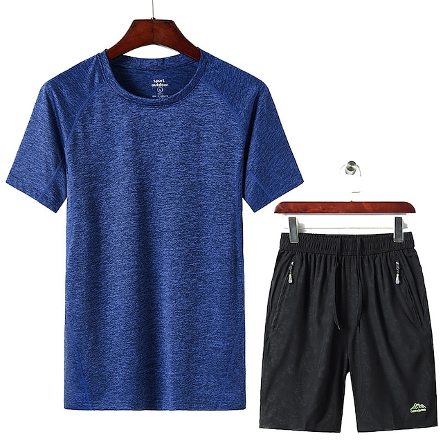 Men's T shirt Hiking Tee shirt with Shorts Short Sleeve Pants / Trousers Bottoms Clothing Suit Outdoor Quick Dry Lightweight Breathable Sweat wicking Autumn / Fall Spring Summer 8912 Cailan 8858 8912