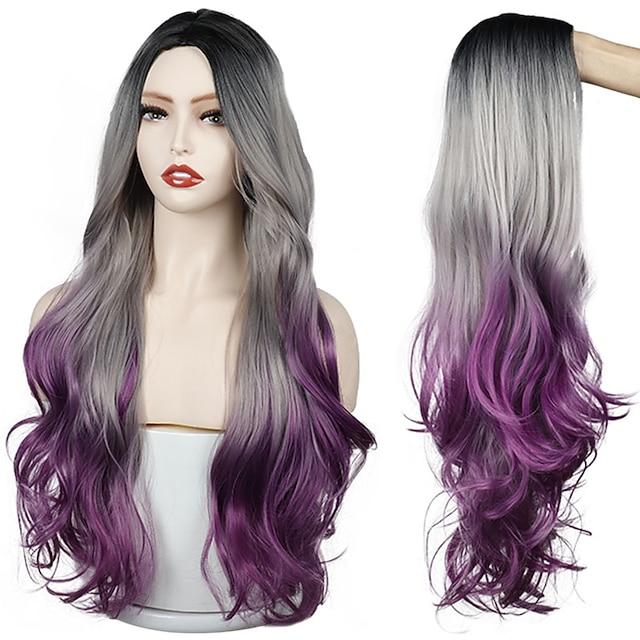 lange grau lila golden ombre synthetische Perücken natürliche Teil Seite wellig hitzebeständige Haare Cosplay tägliche Perücke für weiße schwarze Frauen