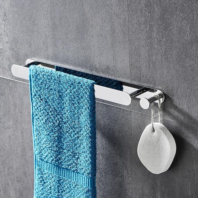 wielofunkcyjny wieszak na ręczniki z haczykiem stal nierdzewna galwanizowana i polerowana półka łazienkowa samoprzylepna srebrzysta 1szt