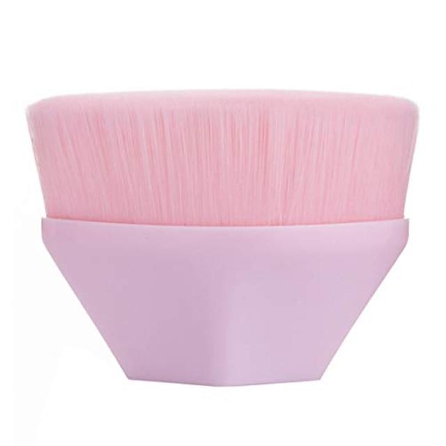 μεγάλη βούρτσα πούδρας επίπεδη κορυφή βούρτσας υγρή κρέμα πούδρας καλλυντικά βούρτσες μακιγιάζ kabuki για ανάμειξη άνευ ραφής εξάγωνο πλήρους κάλυψης με προστατευτική θήκη (ροζ)