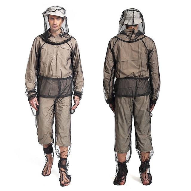 בגדים נטו דוחה יתושים ברדס טיולי קפוצ 'ון מעיל חליפה חסינת חרקים הגנת הגנה מפני הגנה מפני שמש נגד יתושים סט במלאי