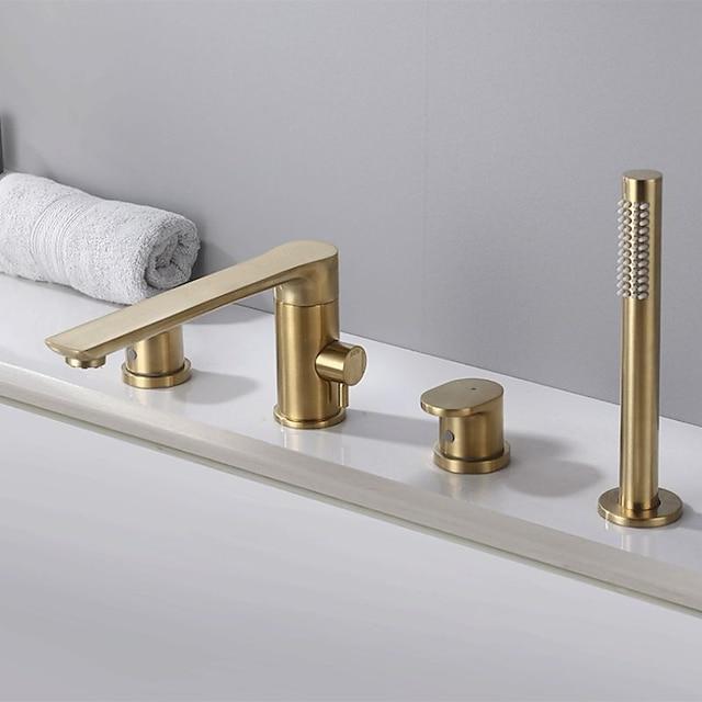 Bathtub Faucet - Contemporary Chrome Roman Tub Ceramic Valve Bath Shower Mixer Taps