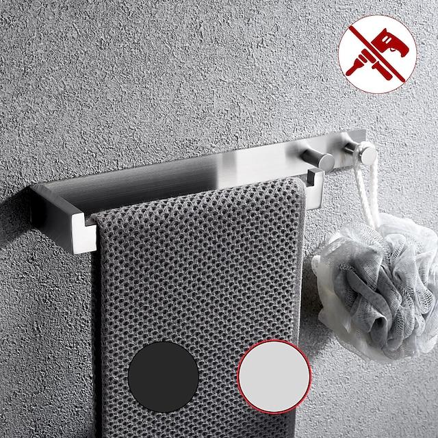 multifunctionele handdoekbeugel met kapstok ponsvrij zelfklevend badkamerrek RVS geborsteld zilver en zwart 1st