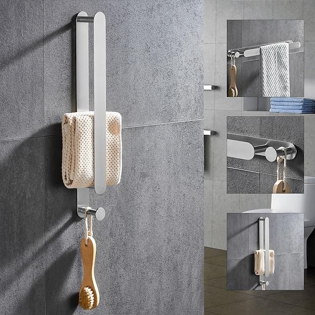 četkana višenamjenska šipka za ručnike s kukom od nehrđajućeg čelika 304 galvanizirana, 40 cm, četkana, polica za kupaonicu i kuhinju bez udarca