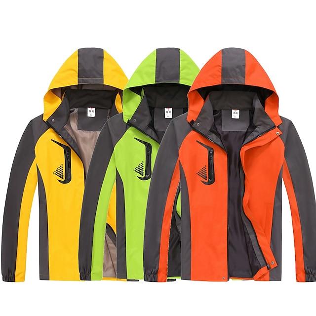 Men's Hoodie Jacket Waterproof Hiking Jacket Hiking Windbreaker Autumn / Fall Spring Outdoor Waterproof Windproof Quick Dry Lightweight Outerwear Coat Trench Coat Hunting Fishing Climbing Light Blue