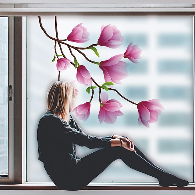 Plants Flowers Pattern Matte Window Film Cling Vinyl Thermal-Insulation Privacy Protection Home Decor For Window Cabinet Door Sticker Window Sticker 60*58CM