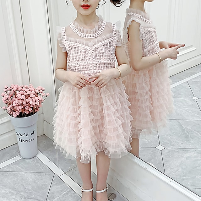 Kids Little Girls' Dress Solid Colored Birthday Party Festival Lace White Blushing Pink Knee-length Sleeveless Princess Sweet Dresses Summer Regular Fit 3-13 Years