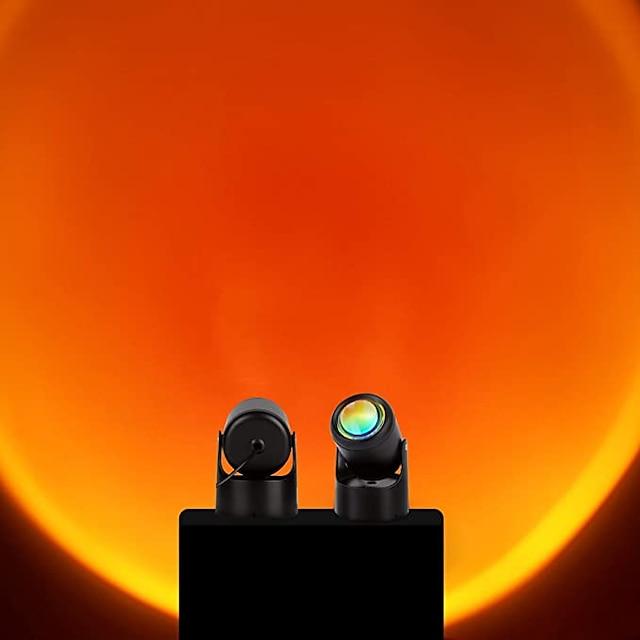 Sunset Lamp 90 Degree Sunset Projection Led Light,Romantic Visual Led Light,Network Red Light with USB Modern Floor Stand Night Light Living Room Bedroom Decor