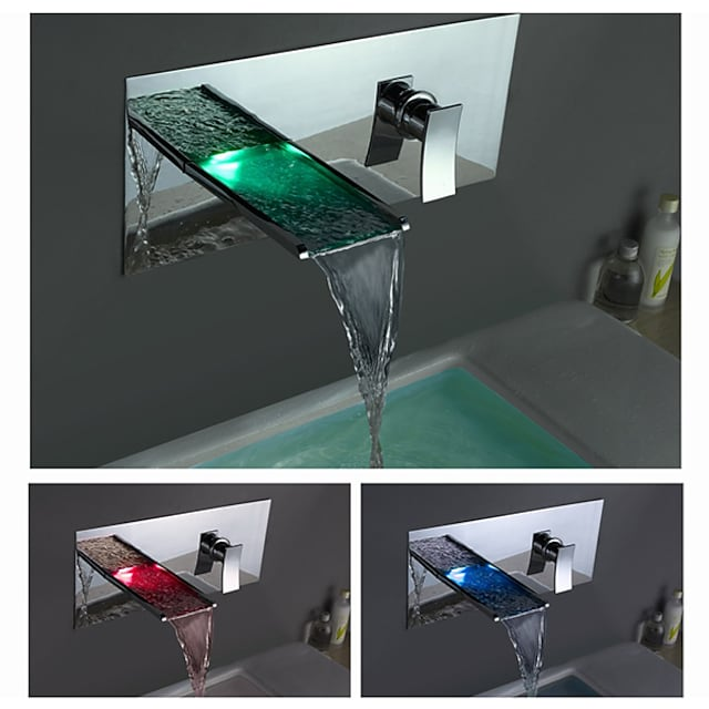Baño grifo del fregadero - LED / Cascada Cromo Conjunto Central Sola manija Un agujeroBath Taps
