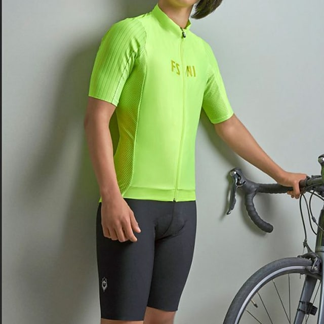 Men's Women's Short Sleeve Triathlon Tri Suit Summer Polyester Green Patchwork Funny Bike Quick Dry Breathable Sweat wicking Sports Patchwork Mountain Bike MTB Road Bike Cycling Clothing Apparel
