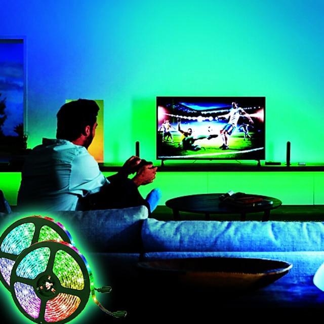 LED Strip Lights Waterproof 10M(2x5M) Flexible LED Strip Lights RGB Tiktok Lights 2835 600LEDs 8mm 44Keys IR Remote Controller