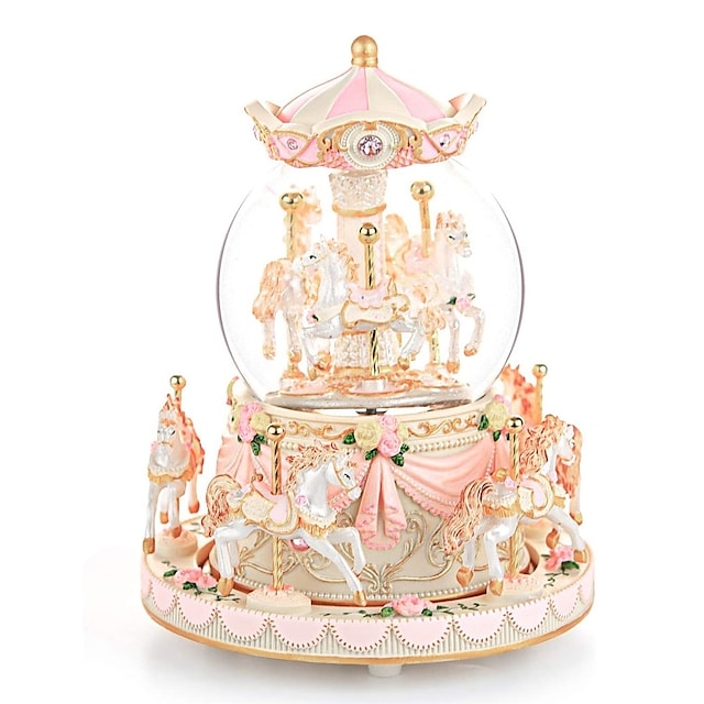 Music Box Carousel Music Box 1 pcs Gift Music & Light Color Changing Resin For Kid's Adults' Boys and Girls