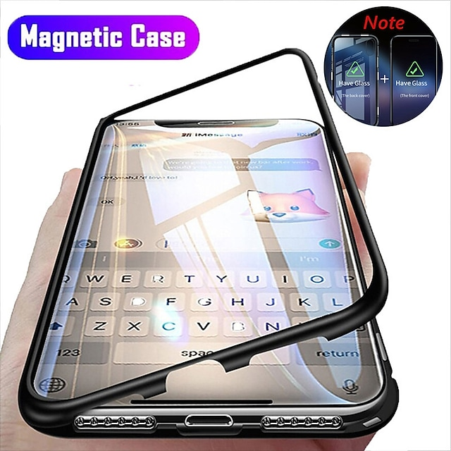 Magnetic Case For Apple iPhone 12 11 Pro Max SE2020 Clear 360 Protection Case Transparent Full Body Double Sided Glass Tempered Glass Phone Case For iPhone XS Max XR X 7 8 PLUS SE 2020