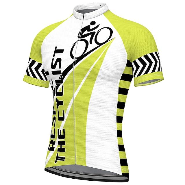 21Grams Erkek Kısa Kollu Bisiklet Forması Yaz Splandeks Polyester Yeşil Komik Bisiklet Forma Üstler Dağ Bisikletçiliği Yol Bisikletçiliği Hızlı Kuruma Nem Emici Nefes Alabilir Spor Dalları Giyim