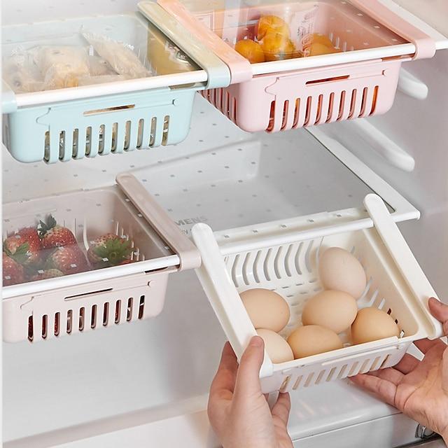 Juego de caja de almacenamiento retráctil, organizador de cocina, cesta de drenaje, cajón del refrigerador, soporte para nevera, estante de almacenamiento, caja de verduras, bandeja de frutas