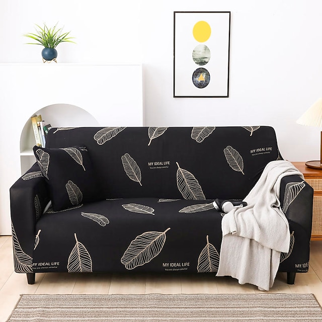 New Stylish Simplicity Print Sofa Cover Stretch Couch  Super Soft Fabric Retro Hot Sale Black White Feather