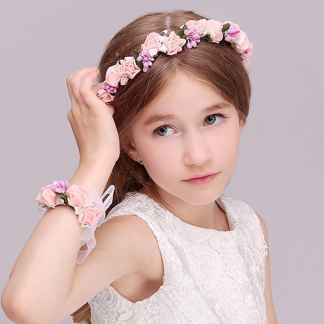 copii fete mori fete fotografiere accesorii păr păr coroană ratan simulare cap floare mireasă domnișoară de onoare copii nunta brățară pălărie