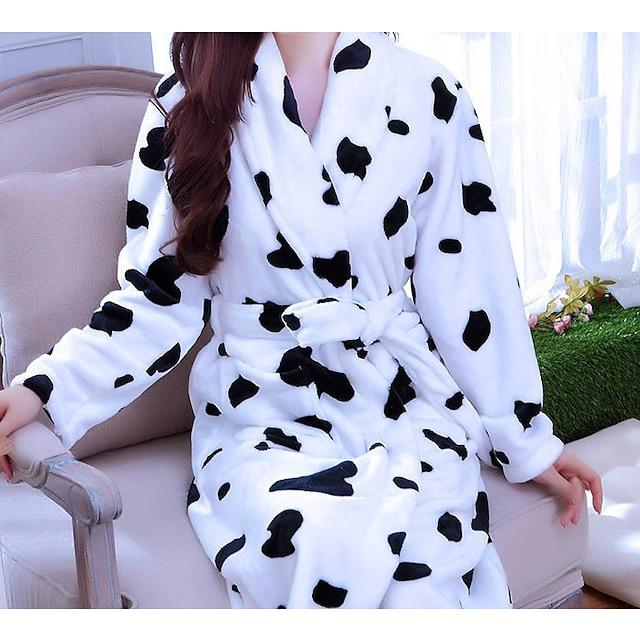 เสื้อคลุมอาบน้ำลายวัวแขนยาวน่ารักใส่สบายที่บ้านเสื้อคลุมโพลีเอสเตอร์ 85%