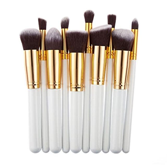 professionelle Salon Kosmetik Make-up Foundationsion Mischbürsten Set 10 Stück (Platin)