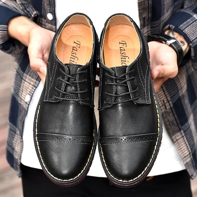 Bărbați Oxfords Pantofi de piele Oxfords tipărite Afacere Casual Clasic Zilnic În aer liber Plimbare Piele Nappa Piele Respirabil Confecționat Manual Non-alunecare Cizme / Cizme la Gleznă Negru Kaki