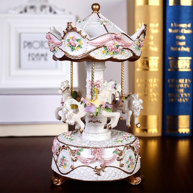Music Box Carousel Music Box Engraved Unique Women's Girls' Kid's Adults Graduation Gifts Toy Gift