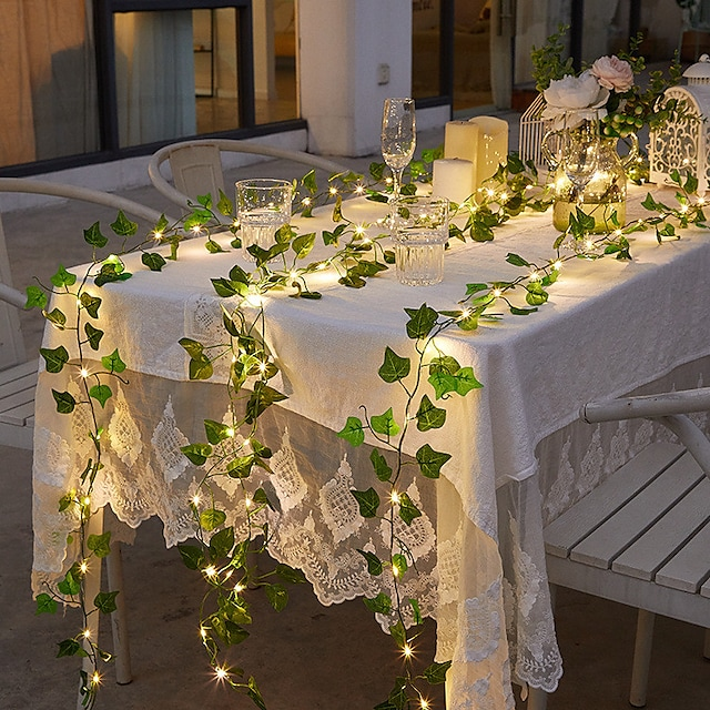 lumina cu șiruri solare cu lumină solară impermeabilă în aer liber 2m șiruri cu lumină suspendată artificială iedera în aer liber plante pentru gard curte agățat de perete decor de nuntă alb cald