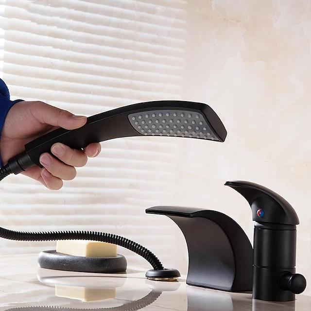 욕조 수전 - 콘템포라리 크롬 프리 스탠드형 도자기 발브 Bath Shower Mixer Taps / 두 핸들 세 개의 구멍