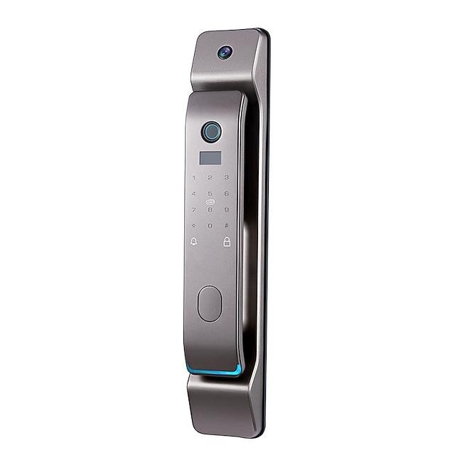 p12 Fingerabdruckschloss automatische Haushalts-Diebstahlsicherung Türnest intelligentes Türschloss mit Katzenaugen-Kamera Passwort elektronisch