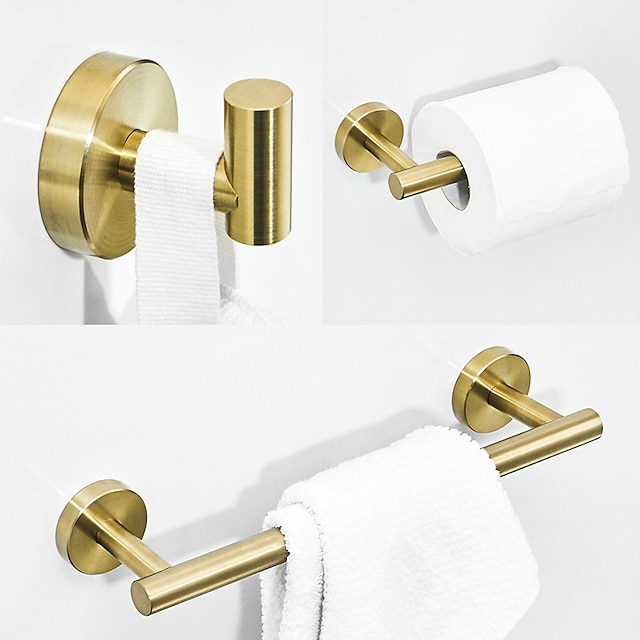 Bathroom Accessory Sets Stainless Steel Contain with Tower Bar,Robe Hook and Toliet Papaer Holder Brushed