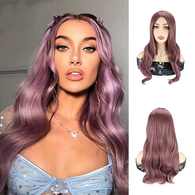 Cosplay Costume Wig Synthetic Wig Cosplay Wig Wavy Body Wave Middle Part Wig 24 inch Purple Synthetic Hair 24 inch Women's Cosplay Party African American Wig Purple