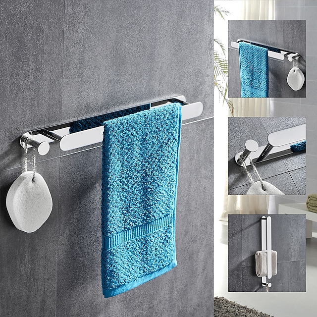 Multifunctional Towel Bar with Hook Stainless Steel Electroplated and Polished Finished Bathroom Shelf Self-adhesive Silvery 1pc