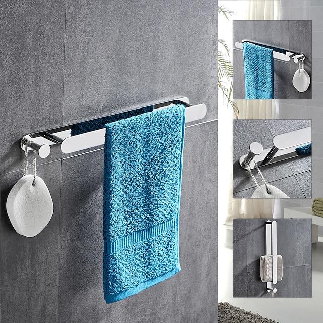 multifunktionel håndklædestang med krog rustfrit stål galvaniseret og poleret færdig badeværelse hylde selvklæbende sølvfarvet 1stk.