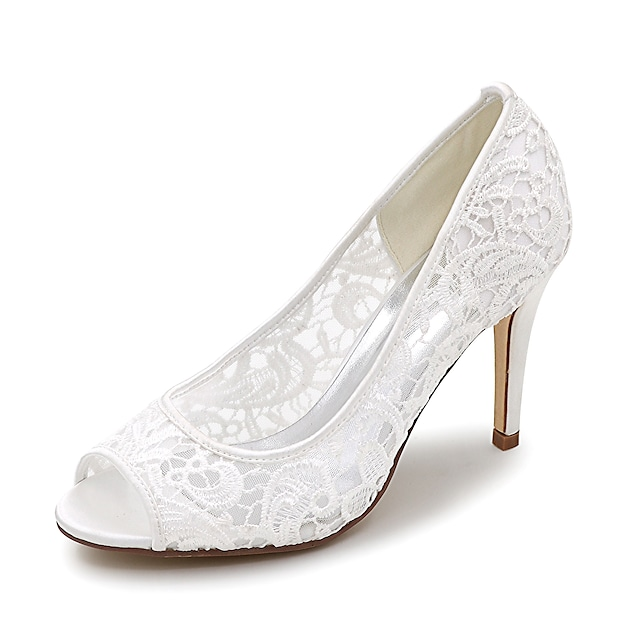 Women's Wedding Shoes Stiletto Heel Peep Toe Lace Braided White Black Pink