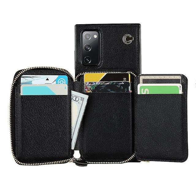 telefon Ügy Kompatibilitás Samsung Galaxy Fekete tok Bőrtok S20 S20 Plus S20 ultra S20 FE 5G S10 S10 + S10E Pénztárca Kártyatartó Ütésálló Egyszínű PU bőr